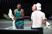 Nick Kyrgios and Jordan Thompson of Team World share a joke with their Team World captain John McEnroe during a training session prior to the Laver Cup at Palexpo on September 17, 2019 in Geneva, Switzerland. ( The Laver Cup consists of six players from the rest of the World competing against their counterparts from Europe.John McEnroe will captain the Rest of the World team and Europe will be captained by Bjorn Borg)  The event runs from 20-22 Sept.