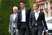 Denis Shapovalov, Milos Raonic and John McEnroe, Captain of Team World arrive for the official team photograph prior to the Laver Cup 2019 at Palexpo, on September 18, 2019 in Geneva, Switzerland. (The Laver Cup consists of six players from the rest of the World competing against their counterparts from Europe. John McEnroe will captain the Rest of the World team and Europe will be captained by Bjorn Borg) The event runs from 20-22 Sept.