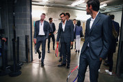 Roger Federer,Kyle Edmund, Alexander Zverev and Jeremy Chardy of Team Europe wait backstage to be unveiled at the official welcome ceremony prior to the Laver Cup at the United Center on September 19, 2018 in Chicago, Illinois.The Laver Cup consists of six players from the rest of the World competing against their counterparts from Europe.John McEnroe will captain the Rest of the World team and Europe will be captained by Bjorn Borg. The event runs from 21-23 Sept.