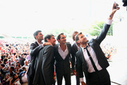 Grigor Dimitrov of Team Europe takes a selfie with team mates Roger Federer,Novak Djokovic,Jeremy Chardy and Alexander Zverev (hidden) at the official welcome ceremony prior to the Laver Cup at the United Center on September 19, 2018 in Chicago, Illinois.The Laver Cup consists of six players from the rest of the World competing against their counterparts from Europe.John McEnroe will captain the Rest of the World team and Europe will be captained by Bjorn Borg. The event runs from 21-23 Sept.