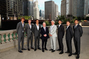 L-R Team Europe Alexander Zverev,Kyle Edmund,Roger Federer,Rod Laver, team captain Bjorn Borg, Novak Djokovic,David Goffin and Grigor Dimitrov pose for their official team photo shoot prior to the Laver Cup at the United Center on September 19, 2018 in Chicago, Illinois.The Laver Cup consists of six players from the rest of the World competing against their counterparts from Europe.John McEnroe will captain the Rest of the World team and Europe will be captained by Bjorn Borg. The event runs from 21-23 Sept.