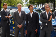 L-R Grigor Dimitrov,Kyle Edmund,Novak Djokovic and Roger Federer of Team Europe arrive at the official welcome ceremony prior to the Laver Cup at the United Center on September 19, 2018 in Chicago, Illinois.The Laver Cup consists of six players from the rest of the World competing against their counterparts from Europe.John McEnroe will captain the Rest of the World team and Europe will be captained by Bjorn Borg. The event runs from 21-23 Sept.