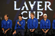 (L-R) Team Europe Roger Federer, Novak Djokovic, Alexander Zverev and Grigor Dimitrov speak during a press conference prior to the Laver Cup at the United Center on September 20, 2018 in Chicago, Illinois. The Laver Cup consists of six players from Team World competing against their counterparts from Team Europe. John McEnroe will captain Team World and Team Europe will be captained by Bjorn Borg. The event runs from 21-23 Sept.