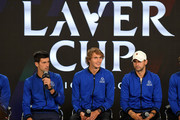 (L-R) Team Europe Novak Djokovic, Alexander Zverev and Grigor Dimitrov speak during a press conference prior to the Laver Cup at the United Center on September 20, 2018 in Chicago, Illinois. The Laver Cup consists of six players from Team World competing against their counterparts from Team Europe. John McEnroe will captain Team World and Team Europe will be captained by Bjorn Borg. The event runs from 21-23 Sept.
