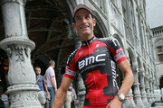 George Hincapie of the USA riding for BMC Racing heads to the team presentation at the Palace St-Lambert prior to the 2012 Tour de France on June 28, 2012 in Liege, Belgium.