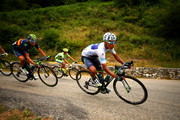 Nairo Alexander Quintana Rojas of Colombia and Movistar Team rides next to Alejandro Valverde Belmonte of Spain and Movistar Team and Alberto Contador of Spain and Tinkoff-Saxo during stage twelve of the 2015 Tour de France, a 195 km stage between Lannemezan and Plateau de Beille, on July 16, 2015 in Lannemezan, France.