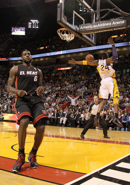 lebron james dunk on kobe. LeBron James and Kobe Bryant