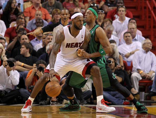 LeBron James LeBron James #6 of the Miami Heat posts up Paul Pierce #34 of the Boston Celtics during a game  at American Airlines Arena on April 10, 2011 in Miami, Florida. NOTE TO USER: User expressly acknowledges and agrees that, by downloading and/or using this Photograph, User is consenting to the terms and conditions of the Getty Images License Agreement.