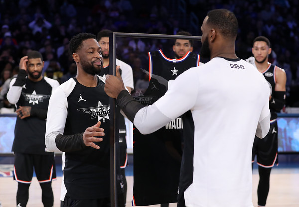 2019 NBA All-Star Game [referee,championship,sport venue,competition event,sports,tournament,sports equipment,player,event,jersey,team lebron,lebron james,dwyane wade 3,user,nbae,note,part,team,nba all-star game]