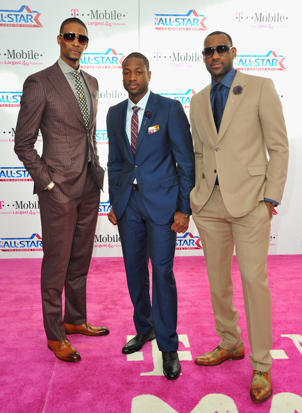 LeBron James NBA players Chris Bosh, Dwayne Wade and LeBron James arrive to the T-Mobile Magenta Carpet at the 2011 NBA All-Star Game on February 20, 2011 in Los Angeles, California.
