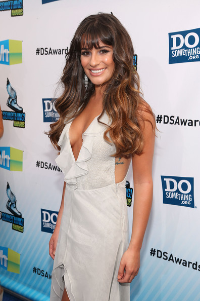 Lea Michele Actress Lea Michele arrives at the 2012 Do Something Awards at Barker Hangar on August 19, 2012 in Santa Monica, California.