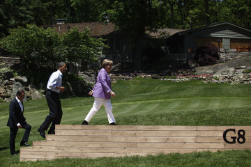 Francois Holland Leaders Commence G8 Summit At Camp David