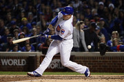 Anthony Rizzo #44 of the Chicago Cubs strikes out in the sixth inning against the Los Angeles Dodgers during game four of the National League Championship Series at Wrigley Field on October 18, 2017 in Chicago, Illinois.