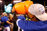 Salvador Perez #13 of the Kansas City Royals dumps Gatorade on teammate Eric Hosmer #35 after the Royals 4-3 victory against the Toronto Blue Jays in game six of the 2015 MLB American League Championship Series at Kauffman Stadium on October 23, 2015 in Kansas City, Missouri.