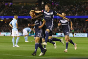 Keisuke Honda of the Victory celebrates after scoring a goal of the Victory celebrates after scoring a goal during the round one A-League match between Melbourne Victory and Melbourne City at Marvel Stadium on October 20, 2018 in Melbourne, Australia.
