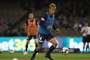 Keisuke Honda of the Victory heads out for the warm up for the round one A-League match between Melbourne Victory and Melbourne City at Marvel Stadium on October 20, 2018 in Melbourne, Australia.