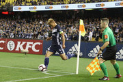 Keisuke Honda of the Victory takes a corner kick during the round one A-League match between Melbourne Victory and Melbourne City at Marvel Stadium on October 20, 2018 in Melbourne, Australia.