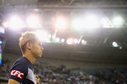 Keisuke Honda of the Victory walks out onto the pitch during the round one A-League match between Melbourne Victory and Melbourne City at Marvel Stadium on October 20, 2018 in Melbourne, Australia.