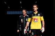 Glen Moss of the Phoenix and Goalkeeping coach Jonathan Gould take the field to warm up during the round one A-League match between Wellington Phoenix and Perth Glory at Westpac Stadium on October 12, 2014 in Wellington, New Zealand.