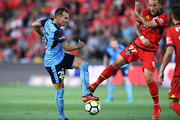 Luke Wilkshire of Sydney FC and Daniel Adlung of Adelaide United  during the round 16 A-League match between Adelaide United and Sydney FC at Coopers Stadium on January 14, 2018 in Adelaide, Australia.