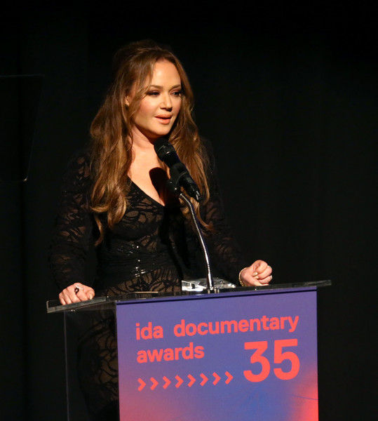 2019 IDA Documentary Awards [public speaking,speech,orator,spokesperson,event,talent show,audio equipment,performance,singer,leah remini,truth to power award,california,los angeles,paramount pictures,ida documentary awards]