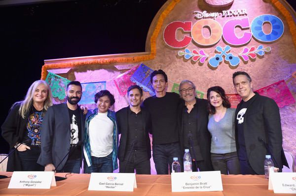 'Coco' Global Press Conference [adrian molina,darla k. anderson,lee unkrich,co-director,actors,benjamin bratt,edward james olmos,gael garcia bernal,l-r,youth,event,community,talent show,team,convention,media,performance,world,coco global press conference]
