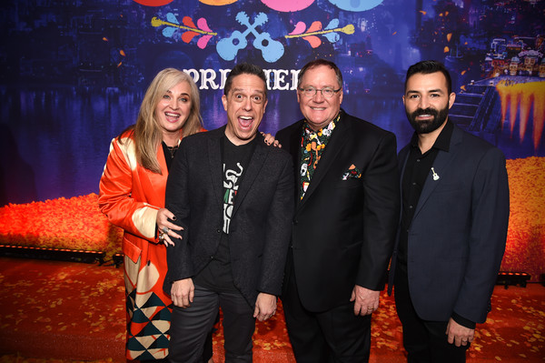 Premiere Of Disney Pixar's 'Coco' - Red Carpet [event,fun,ceremony,formal wear,photography,performance,party,red carpet,darla k. anderson,coco,john lasseter,lee unkrich,adrian molina,l-r,disney pixar,premiere,premiere]