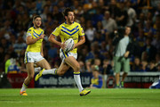 Stefan Ratchford of Warrington Wolves runs with possesion during the Round 1 match of the First Utility Super League Super 8s between Leeds Rhinos and Warrington Wolves at Headingley Carnegie Stadium on August 7, 2015 in Leeds, England.