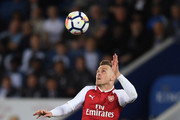 Aaron Ramsey of Arsenal in action during the Premier League match between Leicester City and Arsenal at The King Power Stadium on May 9, 2018 in Leicester, England.
