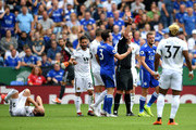 Match Referee, Mike Dean shows Jamie Vardy of Leicester City a red card during the Premier League match between Leicester City and Wolverhampton Wanderers at The King Power Stadium on August 18, 2018 in Leicester, United Kingdom.