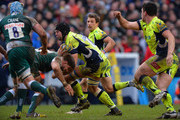 Michael Fitzgerald of Leicester Tigers tackles Josh Beaumont of Sale Sharks during the Aviva Premiership match between Leicester Tigers and Sale Sharks at Welford Road on February 6, 2016 in Leicester, England.