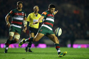 Ben Youngs of Leicester Tigers kicks the ball upfield during the Champions Cup match between Leicester Tigers and Scarlets at Welford Road Stadium on October 19, 2018 in Leicester, United Kingdom.