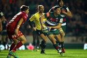Ben Youngs of Leicester Tigers looks to pass the ball during the Champions Cup match between Leicester Tigers and Scarlets at Welford Road Stadium on October 19, 2018 in Leicester, United Kingdom.