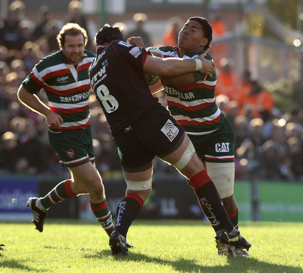 Leicester Centre Manu Tuilagi Is Tackled: Leicester Tigers V Scarlets