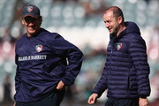 Mark Bakewell, Forwards Coach and Geordan Murphy, Interim Head Coach of Rugby of Leicester Tigers looks on during the Gallagher Premiership Rugby match between Leicester Tigers and Worcester Warriors at Welford Road Stadium on September 23, 2018 in Leicester, United Kingdom.