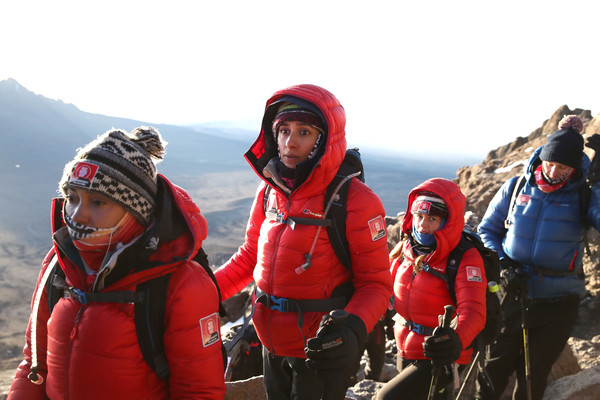 'Kilimanjaro: The Return' For Red Nose Day [backpacking,adventure,mountaineering,outdoor recreation,mountaineer,recreation,mountain guide,hiking,fun,winter,editorial use,charge,funds,l-r,kilimanjaro: the return for red nose day,images,dani dyer,anita rani,leigh-anne pinnock,dan walker]