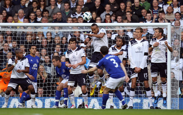Leighton Baines Leighton Baines of Everton scores the first goal from a freekick during the Barclays Premier League match between Tottenham Hotspur and Everton at White Hart Lane on October 23, 2010 in London, England.