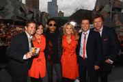 "American singer, Lenny Kravitz poses with the ""TODAY"" show cast, Steven Jacobs, Lisa Wilkinson, Georgie Gardner, Karl Stefanovic and Richard Wilkins after performing for fans live on the ""TODAY"" show at Federation Square on March 16, 2012 in Melbourne, Australia."
