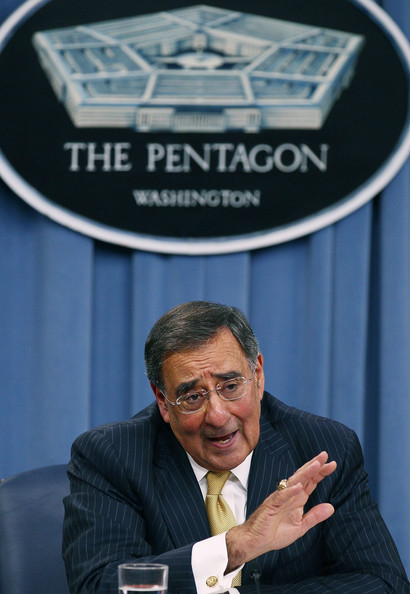 Leon Panetta Secretary of Defense Leon Panetta speaks during a briefing at the Pentagon, on August 4, 2011 in Arlington, Virginia. Panetta warned against defense budget cuts during his first media briefing since taking over as Secretary of Defense.