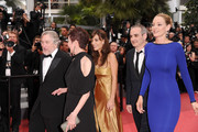 """(L-R)  Jury President Robert De Niro, and members Nansun Shi, Martina Gusman, Olivier Assayas,  Uma Thurman and Johnnie To attend the """"Les Bien-Aimes"""" premiere at the Palais des Festivals during the 64th Cannes Film Festival on May 22, 2011 in Cannes, France."""
