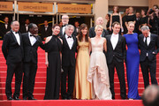"(L-R) Jury Members Mahamat-Saleh Haroun, Johnnie To, Nansun Shi, Martina Gusman, Jury President Robert De Niro, Linn Ullmann, Jude Law, Uma Thurman and Olivier Assayas  attend the ""Les Bien-Aimes"" premiere at the Palais des Festivals during the 64th Cannes Film Festival on May 22, 2011 in Cannes, France."