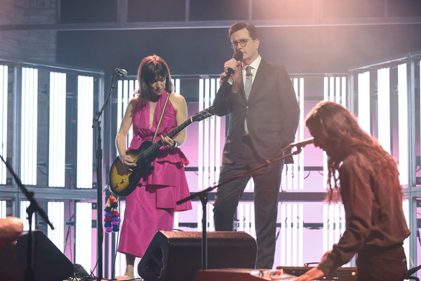 """CBS's """"The Late Show with Stephen Colbert"""" - Season Two [the late show,performance,event,musician,music,pink,performing arts,singing,public event,stage,concert,stephen colbert,feist,cbs,show]"""