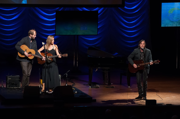 The United Nations Equator Prize Gala [performance,entertainment,music,performing arts,musician,event,stage,music artist,talent show,public event,justin vernon,feist,jackson browne,stage,l-r,lincoln center,new york city,avery fisher hall,united nations,equator prize gala]