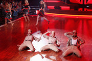 (2nd Row L-R) Carmen Geiss, Isabel Edvardsson,Larissa Marolt and (1st Row L-R) Christian Polanc, Massimo Sinato and Alexander Klaws perform on stage during the 5th show of 'Let's Dance' on RTL at Coloneum on May 2, 2014 in Cologne, Germany.