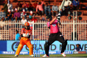 Jacques Kallis of Libra Legends bats as James Foster of Virgo Super Kings looks on during the Oxigen Masters Champions League match between Libra Legends and Virgo Super Kings at Sharjah Cricket Stadium on February 3, 2016 in Sharjah, United Arab Emirates.
