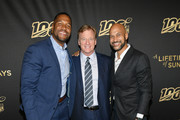 """(L-R) Michael Strahan, Roger Goodell and Keegan-Michael Key attend """"A Lifetime Of Sundays"""" New York Screening at The Paley Center for Media on September 18, 2019 in New York City."""