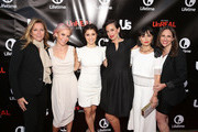 "(L-R) SVP, Scripted Series & Development, Lifetime, Nina Lederman, executive producer Marti Noxon, actress Shiri Appleby, executive producer Sarah Gertrude Shapiro, actress Constance Zimmer and VP, Scripted Series & Development, Lifetime, Jennifer Breslow attend the Lifetime and US Weekly's Premiere Event for New Drama ""UnREAL"" at The SIXTY Beverly Hills on May 20, 2015 in Beverly Hills, California."