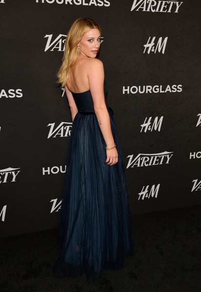 Variety's Annual Power Of Young Hollywood - Arrivals [dress,clothing,strapless dress,gown,hairstyle,fashion,premiere,shoulder,cocktail dress,a-line,variety,annual power of young hollywood - arrivals,power,young hollywood,west hollywood,california,sunset tower hotel,lili reinhart]