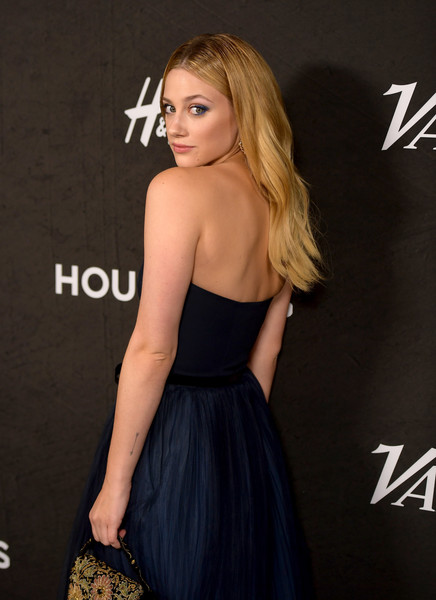 Variety's Annual Power Of Young Hollywood - Arrivals [dress,clothing,shoulder,cocktail dress,strapless dress,blond,little black dress,premiere,hairstyle,fashion,variety,annual power of young hollywood - arrivals,power,young hollywood,west hollywood,california,sunset tower hotel,lili reinhart]