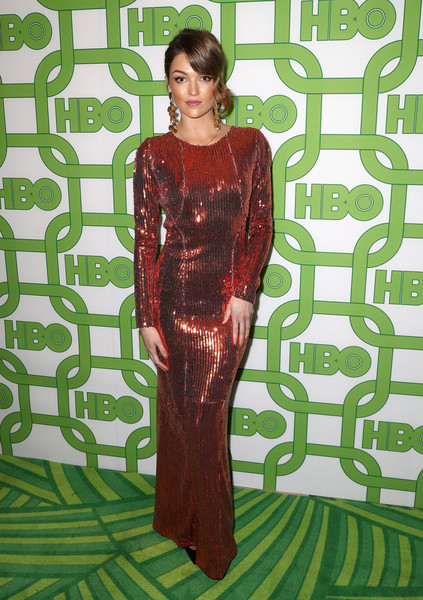 HBO's Official Golden Globe Awards After Party - Arrivals [clothing,green,dress,formal wear,fashion,pattern,fashion design,day dress,fashion model,flooring,lili simmons,official golden globe awards,california,los angeles,circa 55 restaurant,hbo,arrivals]